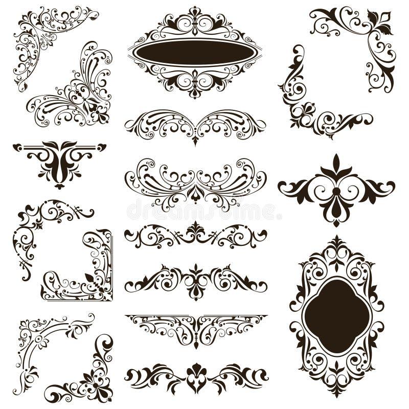 Ornamentacyjna projekt koronka graniczy wektoru art deco kwiecistych ornament?w ustalonych elementy i osacza royalty ilustracja