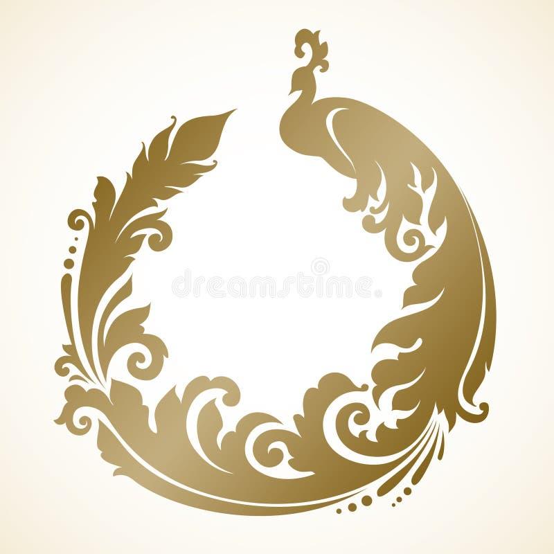 Ornamentacyjna rama z pawiem royalty ilustracja