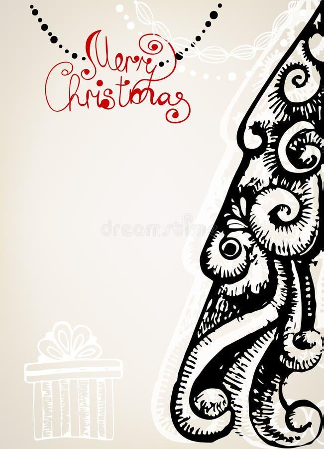 Ornamentacyjna rocznik kartka bożonarodzeniowa ilustracji