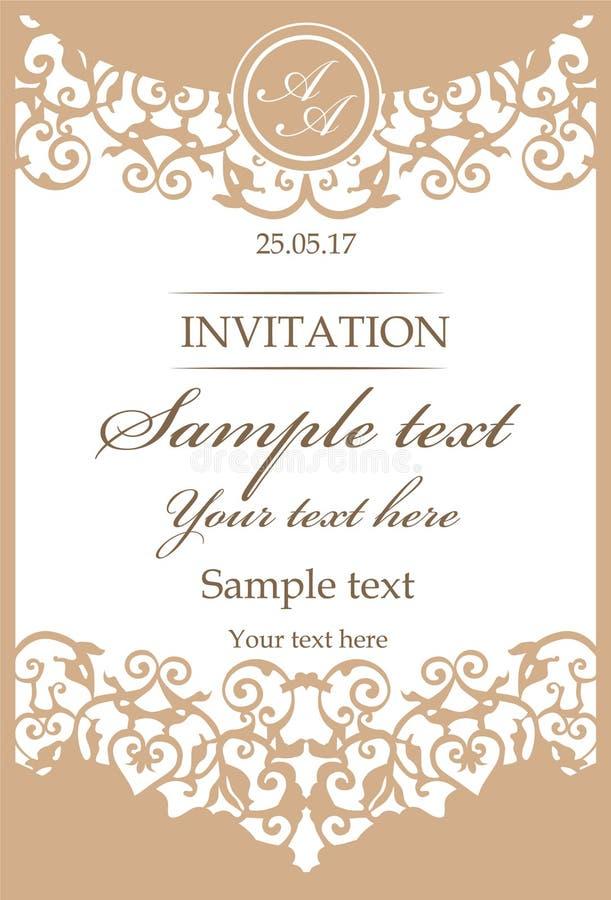 Ornamentacyjna rocznik rama dla ślubnych zaproszeń royalty ilustracja