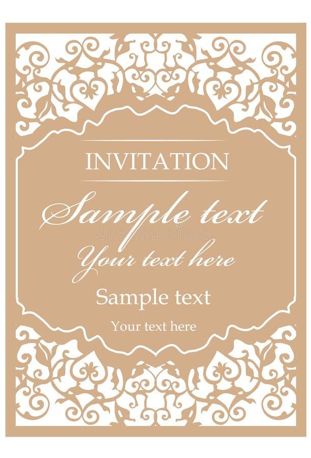 Ornamentacyjna rocznik rama dla ślubnych zaproszeń ilustracja wektor