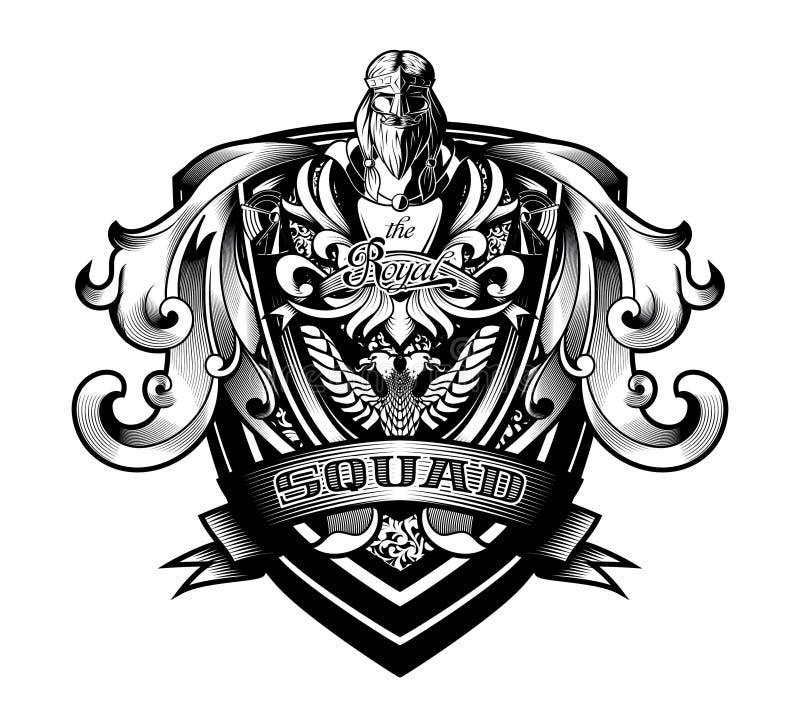 Ornamentacyjne Barokowe heraldyki osłony «Królewskiego oddziału «grzebienia żakieta ręki ilustracja wektor