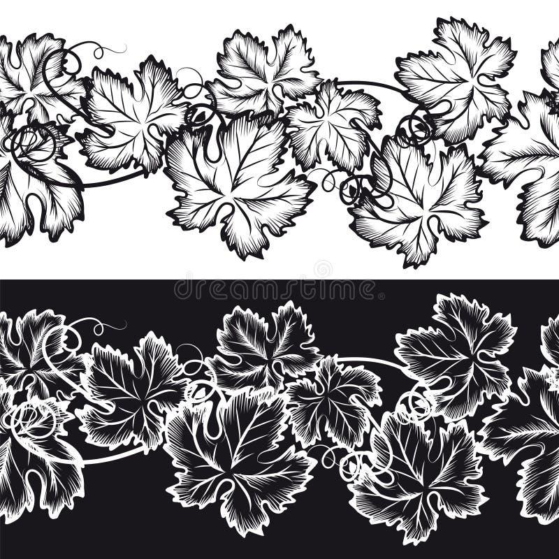 Ornamentacyjne bezszwowe granicy z gronowymi liśćmi ilustracji