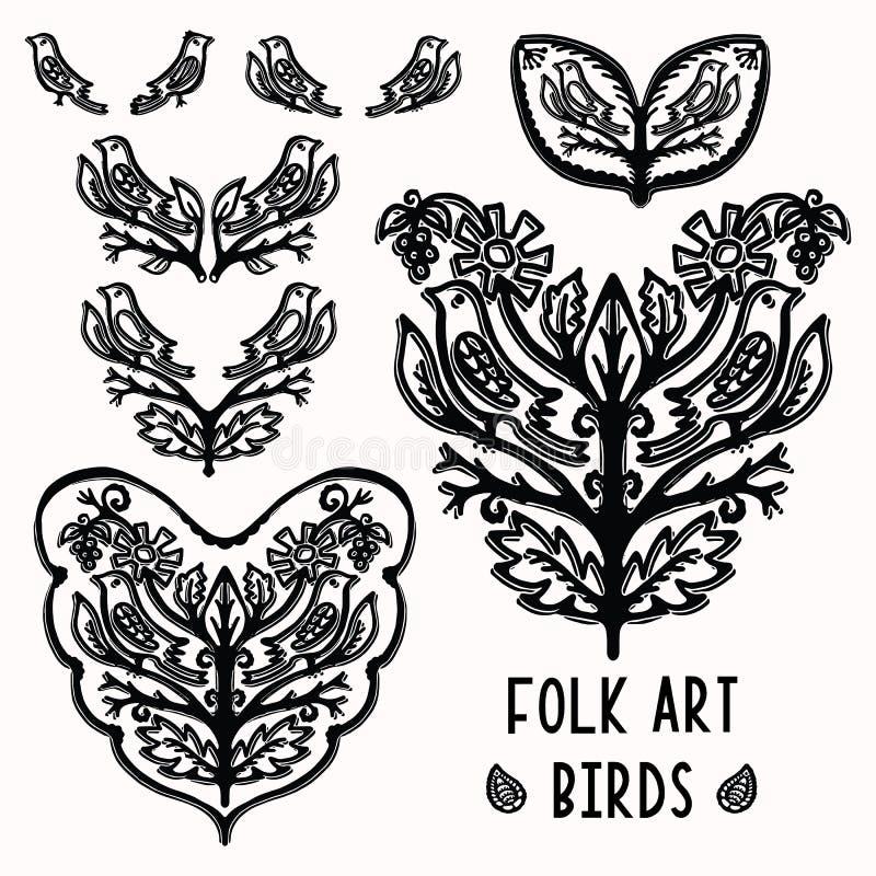Ornamentacyjnego liścia ludowej sztuki ptasi elementy dla projekta setu Ręka rysujący linocut blokowego druku styl Czarna ludozna ilustracja wektor
