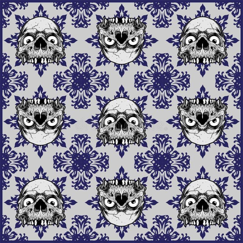 Ornamentacyjnej czaszki Bezszwowy wz ilustracji