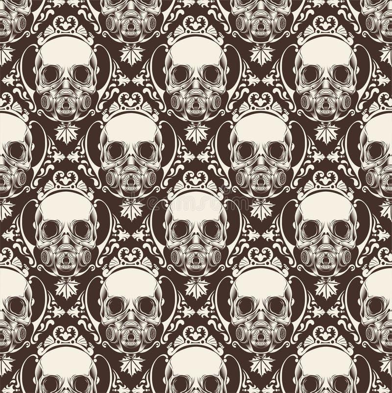 Ornamentacyjnej czaszki Bezszwowy wz?r - wektor royalty ilustracja