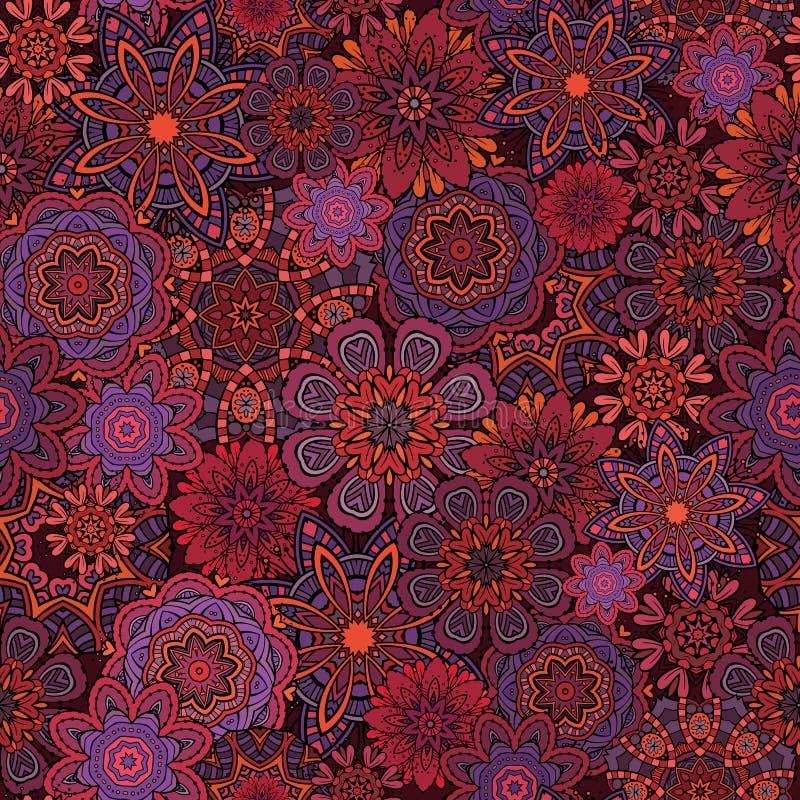 Ornamentacyjnej fantazi kwiecisty wektorowy bezszwowy wzór ilustracji