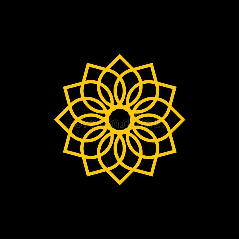Ornamentacyjnej kwiat ikony logo Wektorowy szablon royalty ilustracja