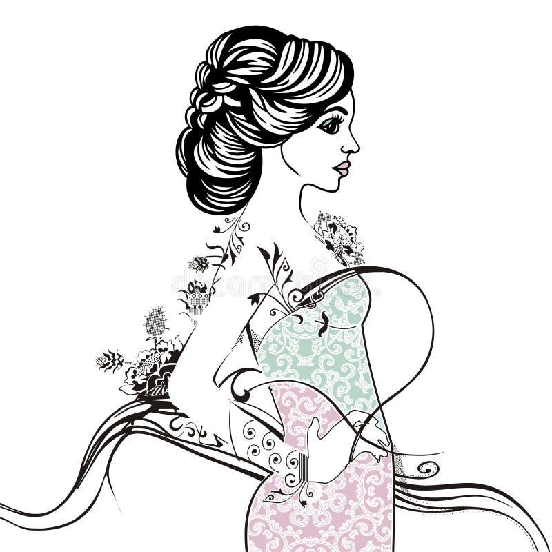 Ornamentacyjnej moda wzoru eleganckiej panny młodej kolorystyki pastelowa książka Urok damy koronki lata żeńska suknia z kwiatem royalty ilustracja