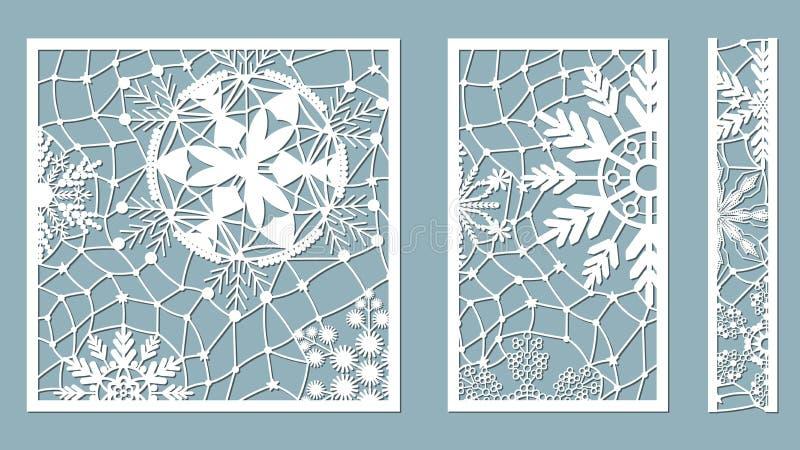 Ornamentacyjni panel z płatek śniegu wzorem Laser koronki granic rżnięci dekoracyjni wzory Set bookmarks szablony Wizerunek stoso ilustracji