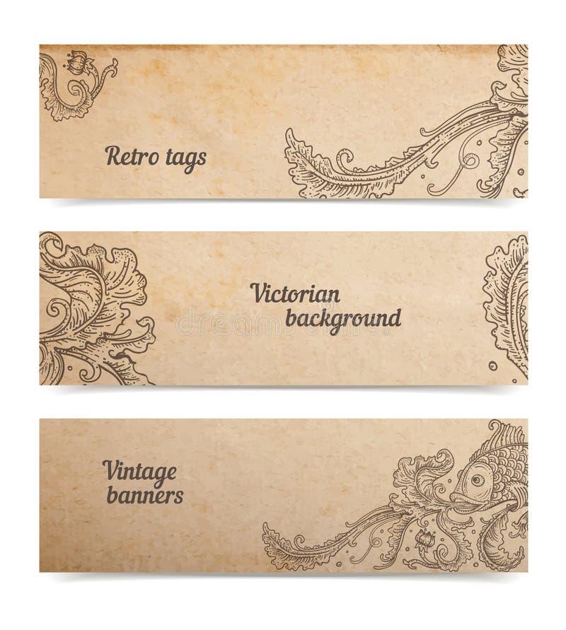 Ornamentacyjni rybi sztandary ilustracja wektor