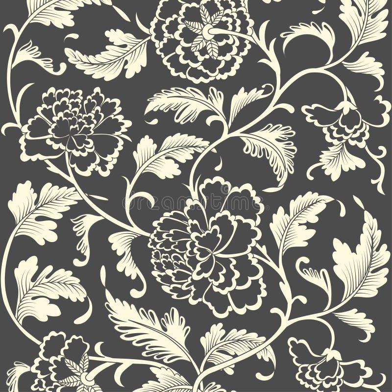 Ornamentacyjny barwiony antykwarski kwiecisty wzór royalty ilustracja