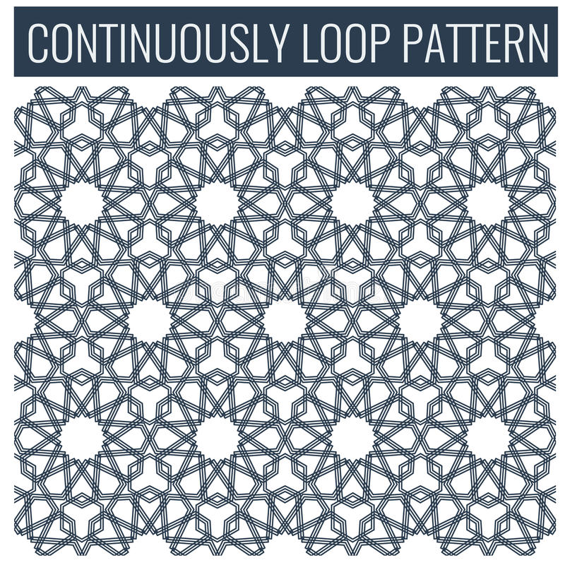 Ornamentacyjny bezszwowy pętla język arabski lub islamskie geometryczne wzór płytki ilustracji