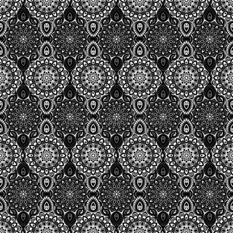 Ornamentacyjny bezszwowy wzór Wschód, orientalny projekt, etniczny styl Wektorowy tło mandala Islam, język arabski, indianin, ott ilustracja wektor