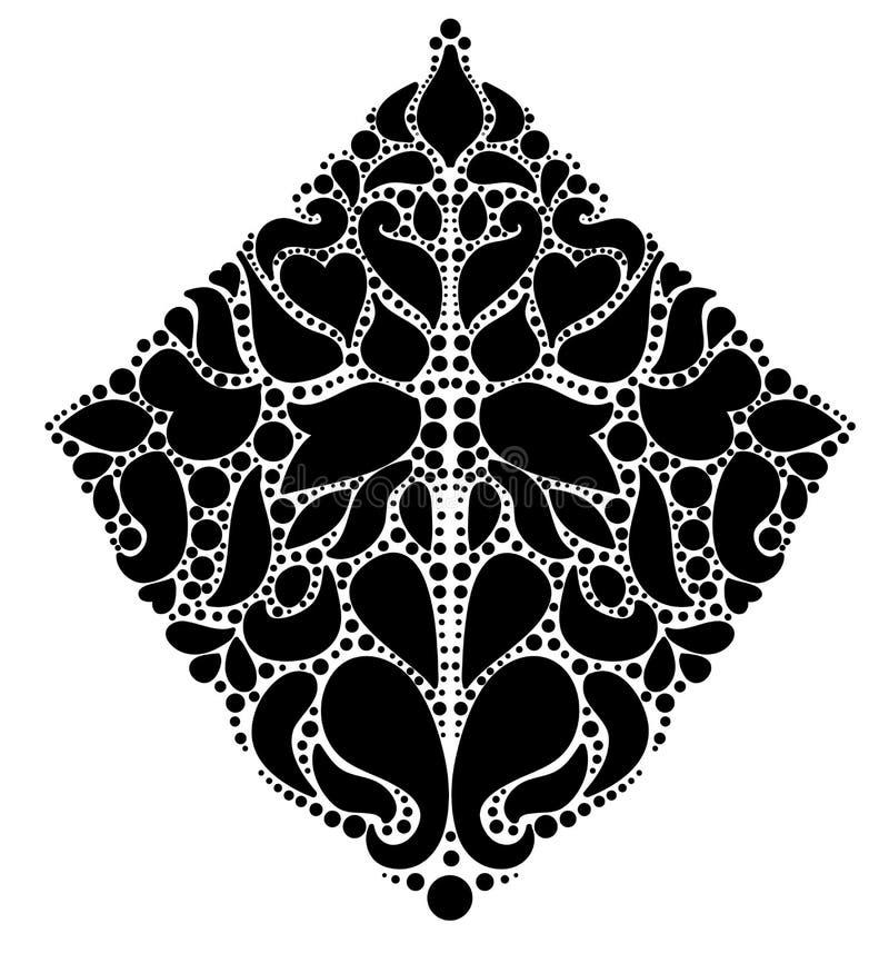 Ornamentacyjny czarny kwiecisty rhombus na białym tle. ilustracji