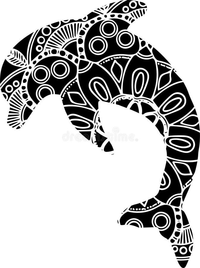 Ornamentacyjny dekoracyjny delfin Kreatywnie sztuki ikona stylizująca również zwrócić corel ilustracji wektora ilustracji