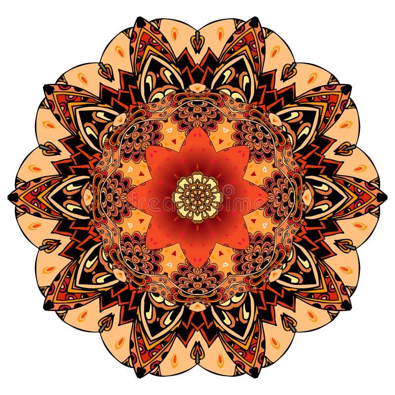 Ornamentacyjny druk dla naczynia lub round dywanu w etnicznym stylu Czerwony tulipan na mandala kwiacie w wektorze elementy proje royalty ilustracja