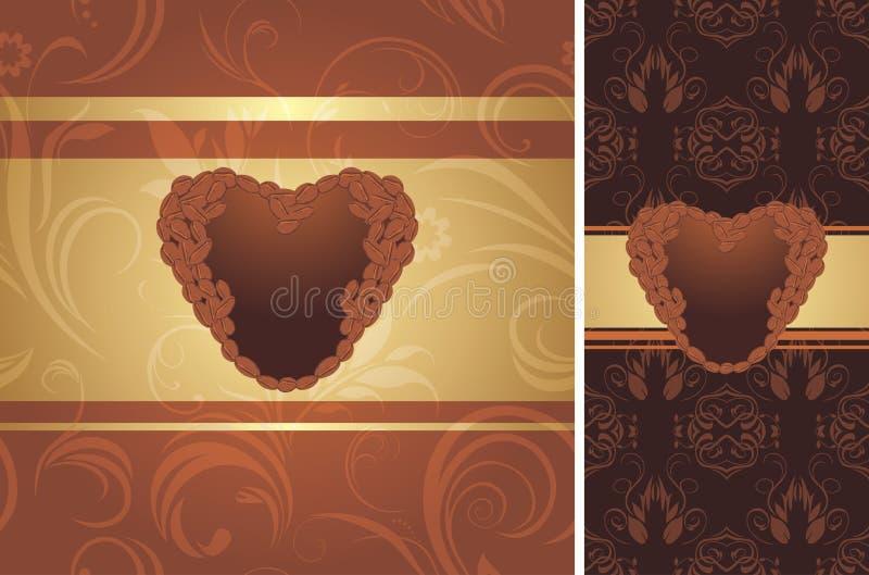 Ornamentacyjny kawowy tło ilustracji