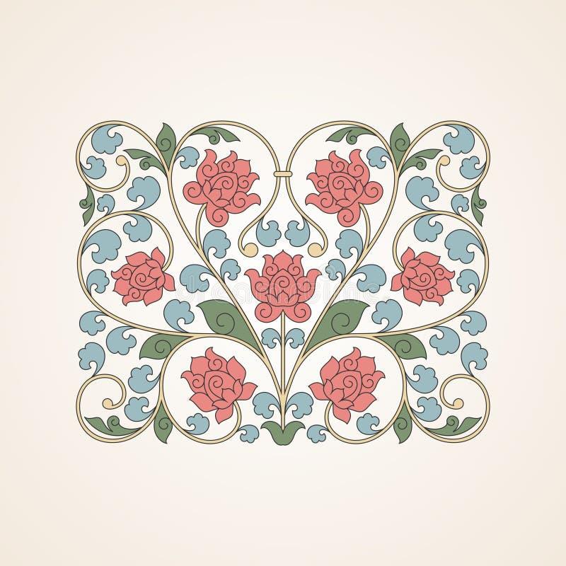 Ornamentacyjny kwiecisty element dla projekta w Chiny ilustracja wektor