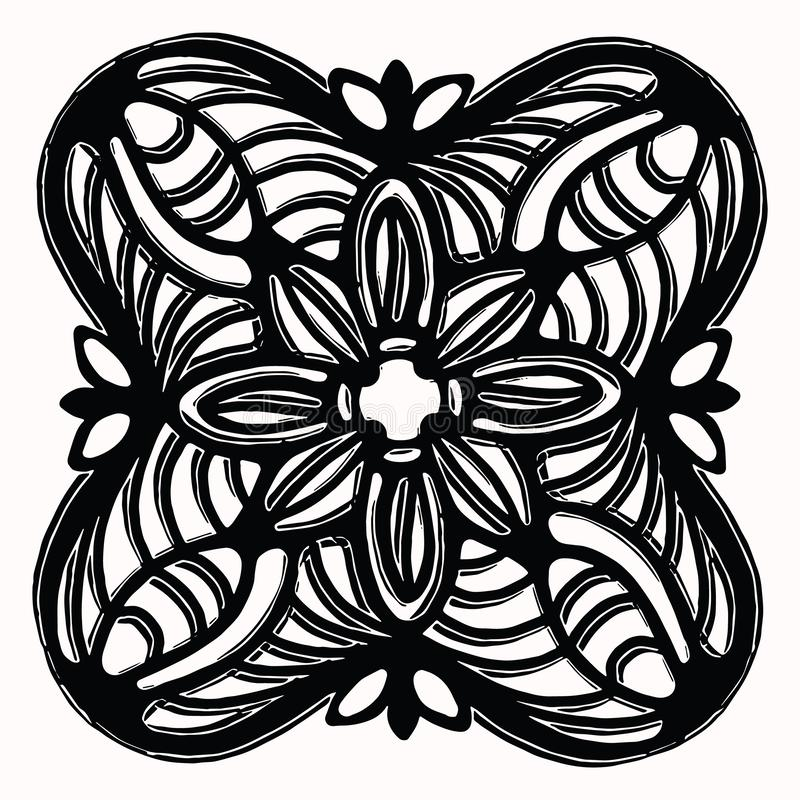 Ornamentacyjny ludowej sztuki graficznego projekta element Ręka rysujący linocut blokowego druku styl Czarna ludoznawcza klamerki royalty ilustracja