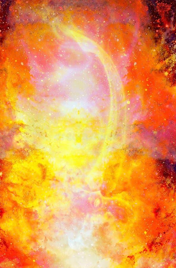 Ornamentacyjny pożarniczy kordzik Oryginalny obraz w koloru pozaziemskim tle komputerowy kolaż Pożarniczy skutek ilustracji