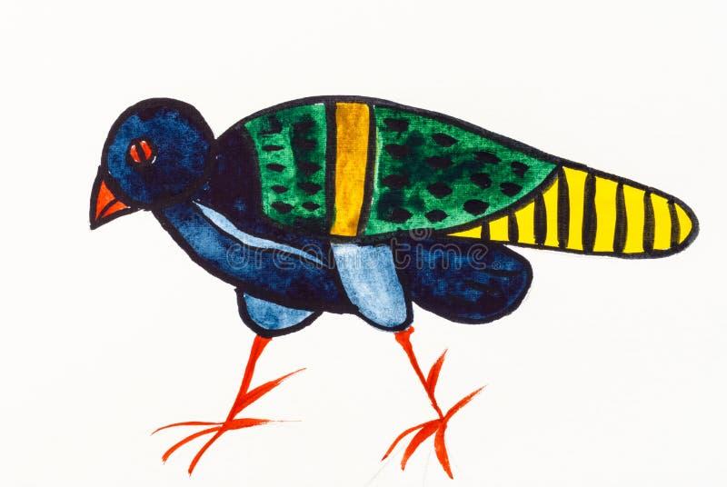 Ornamentacyjny ptak w antycznym byzantine stylu ilustracja wektor