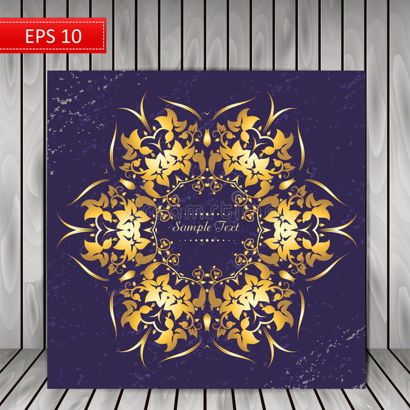Ornamentacyjny round kwiecisty złoto wzór royalty ilustracja