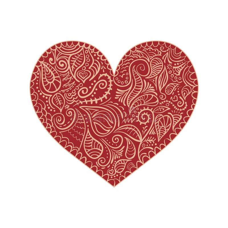 Ornamentacyjny serce na białym tle ilustracja wektor