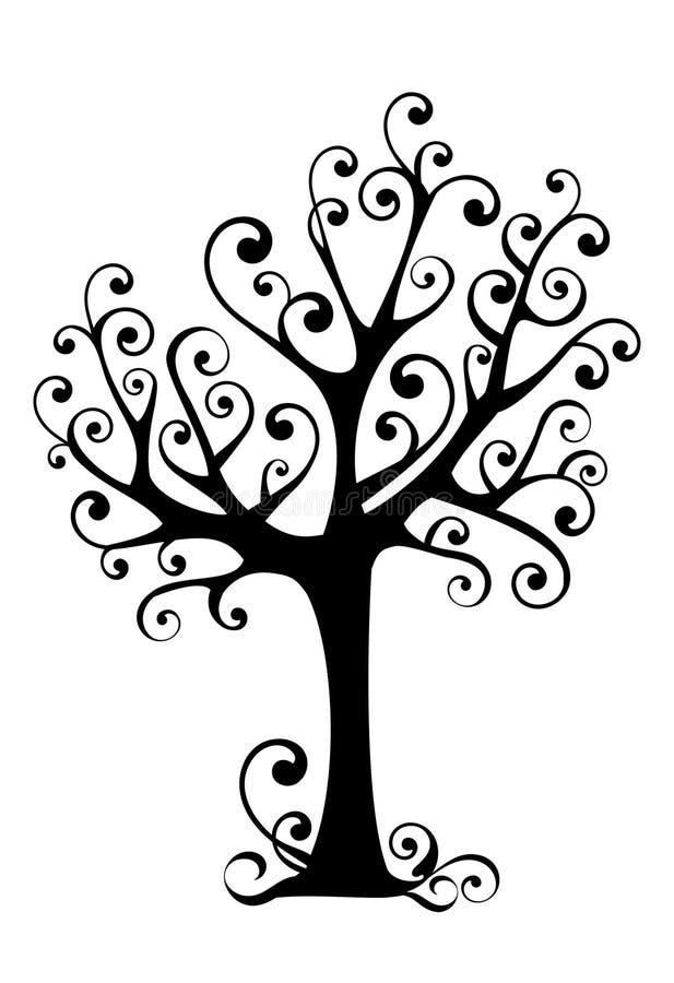 ornamentacyjny sylwetki drzewo ilustracja wektor