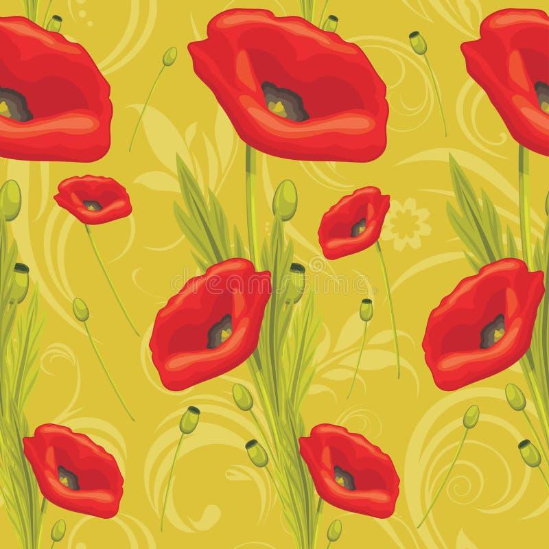 Ornamentacyjny tło z czerwonymi maczkami ilustracji