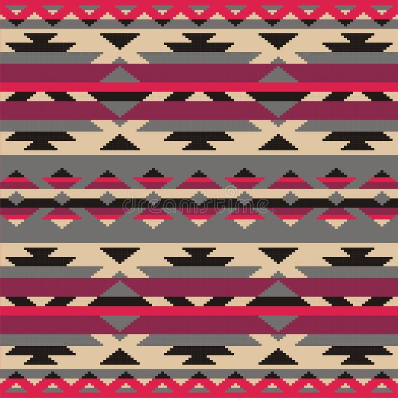 Ornamentacyjny wzór dla dziać i broderii Amerykańscy indianie, Navajo, plemienna, etniczna tkanina, royalty ilustracja