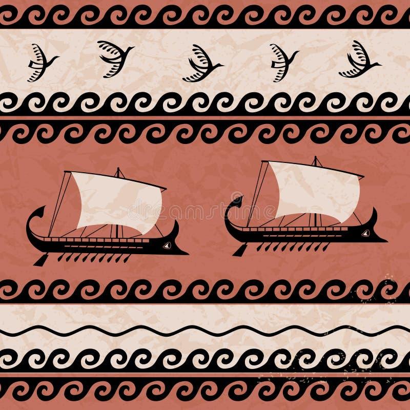 Ornamentacyjny wzór z ptaków i statków starożytnym grkiem projektuje ilustracja wektor
