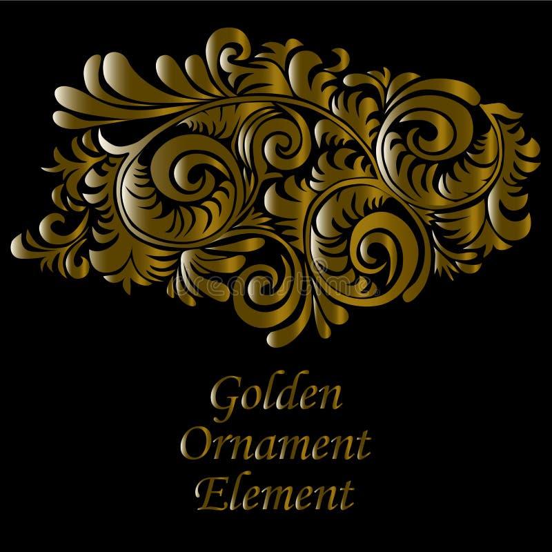 Ornamentacyjny złoto i swirly dekoracyjny element na czarnym tle, ilustracja ilustracja wektor