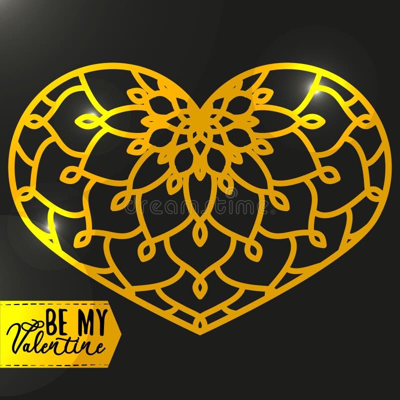 Ornamentacyjny Złoty serce z głównymi atrakcjami Rocznika ozdobny projekt e royalty ilustracja