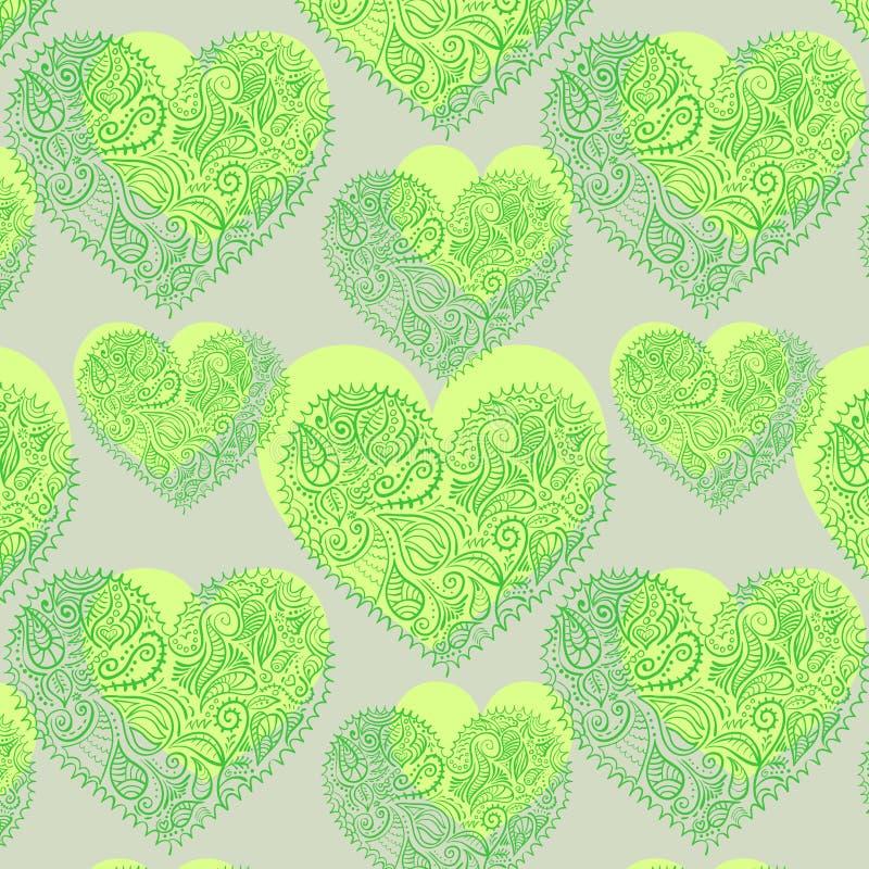 Ornamentacyjnych koronkowych serc bezszwowy wzór ilustracji