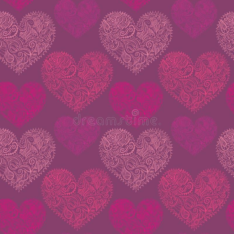 Ornamentacyjnych koronkowych serc bezszwowy wzór royalty ilustracja