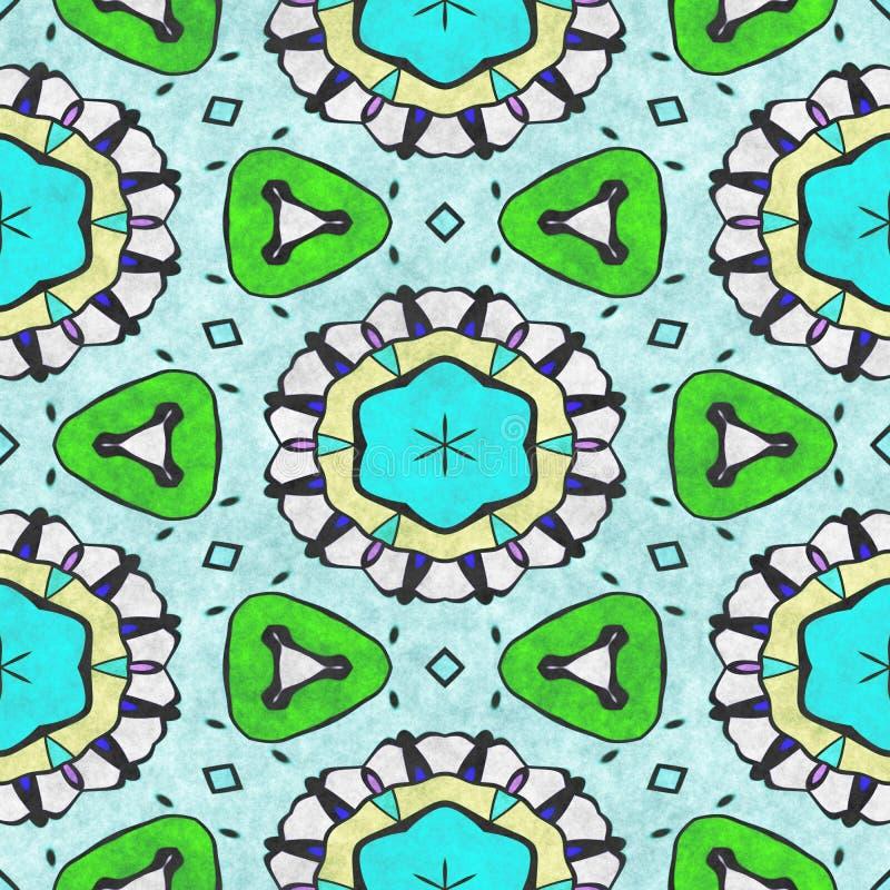 Ornamentado sem emenda da geometria calidosc?pico da arte Ilustração de Digitas 2D criada sem a imagem da referência ilustração stock