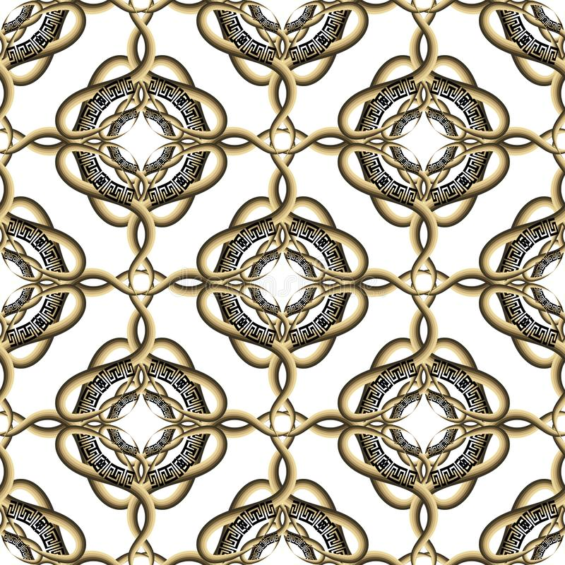 Ornamental arabesque style intricate  greek vector seamless pattern. Vintage  patterned white background. Striped lines, curves,. Swirls, flowers, geometric royalty free illustration