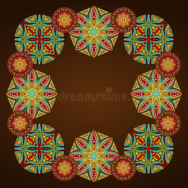 Ornamental Arabic Style Border. Ornate ethnic frame. Colorful medallions in tribal border composition. Abstract geometric round ornaments. Useful for greeting stock illustration
