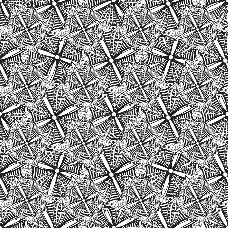 Ornamental background with doodle graphic flowers. Black and white ethnic seamless pattern for fabric, textile, wrapping royalty free illustration