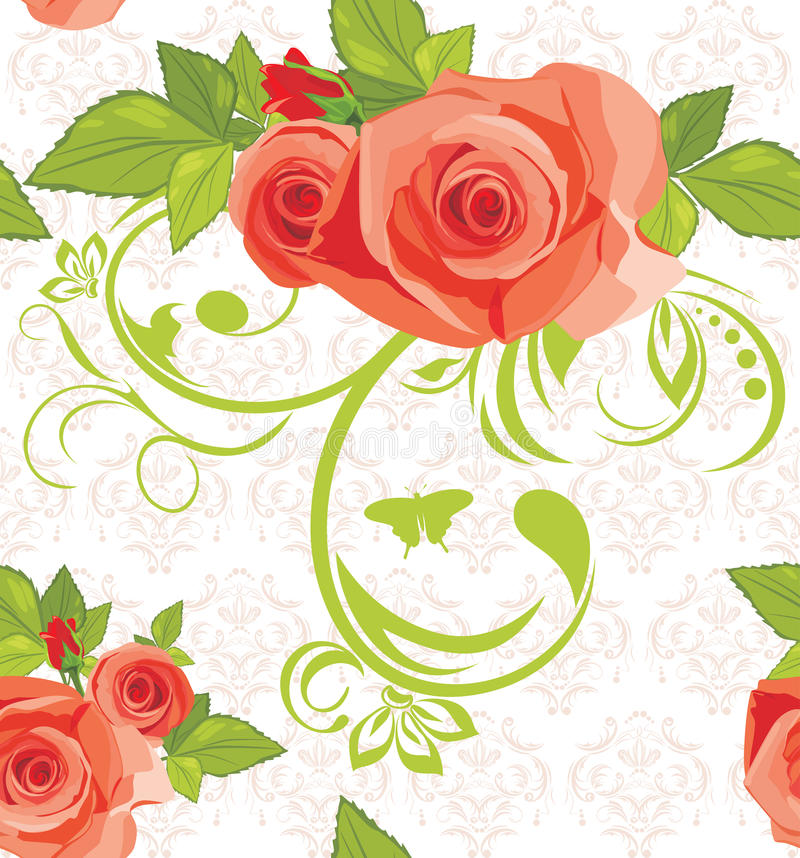 Ornamental background with roses. Pattern royalty free illustration