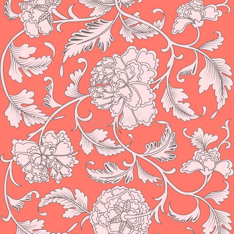 Ornamental beautiful coral color antique floral pattern with peonies. Vector illustration, asian texture for printing on packaging. Textiles, paper, covers royalty free illustration