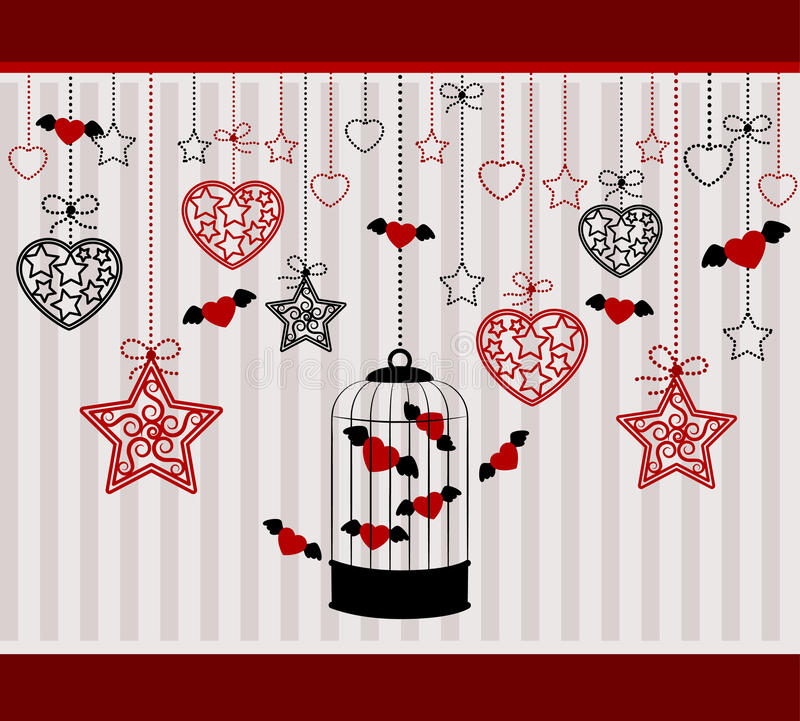 Ornamental birdcages and red hearts