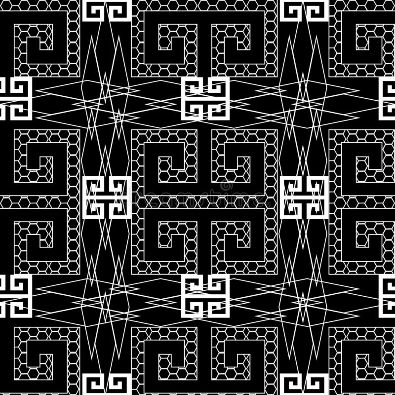 Ornamental black and white greek key meander seamless pattern. Geometric monochrome background. Lace textured ornament. Decorative vector illustration
