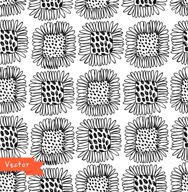 Ornamental black and white seamless floral pattern. Decorative beauty background with flowers. stock illustration