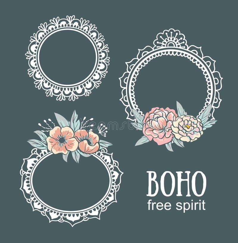 Ornamental Boho Style Frames and elements. vector illustration