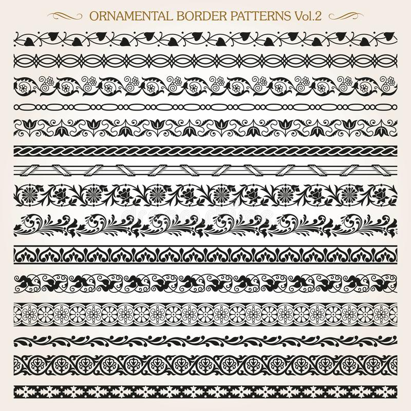 Ornamental border frame line vintage patterns 2 vector vector illustration