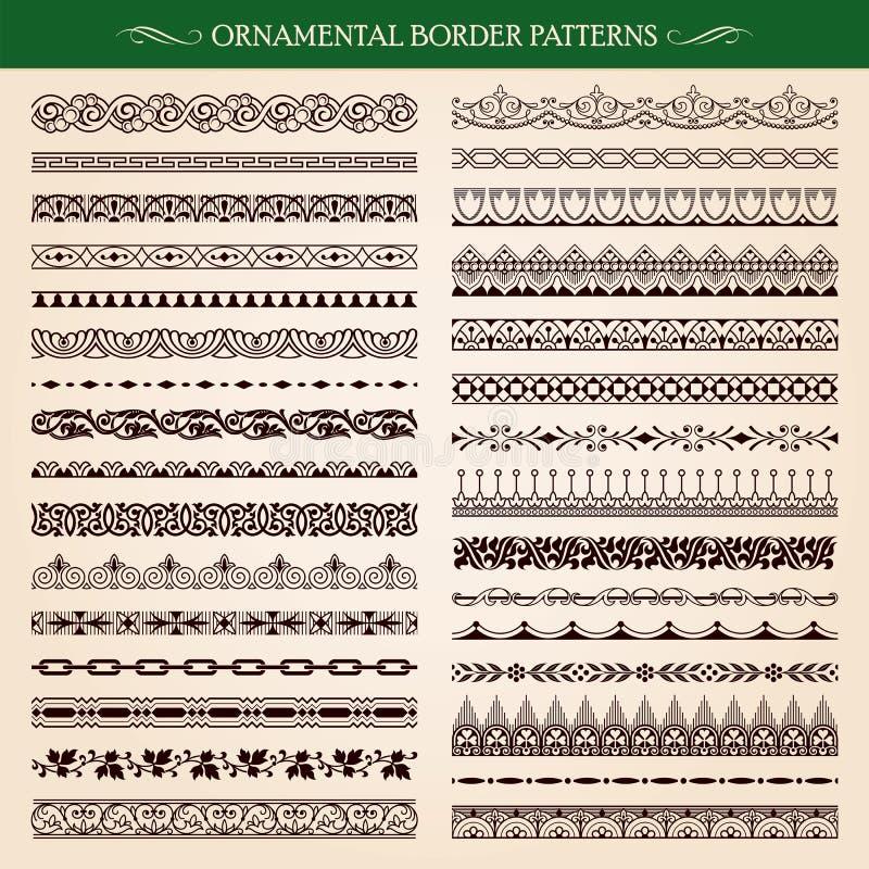 Ornamental border frame patterns. Set of vintage style ornamental border frame patterns stock illustration