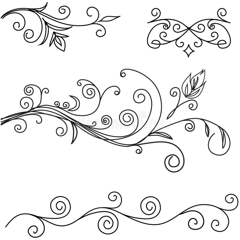 Ornamental Borders, Corners, Headers Isolated on White Background. Vector Illustration royalty free illustration