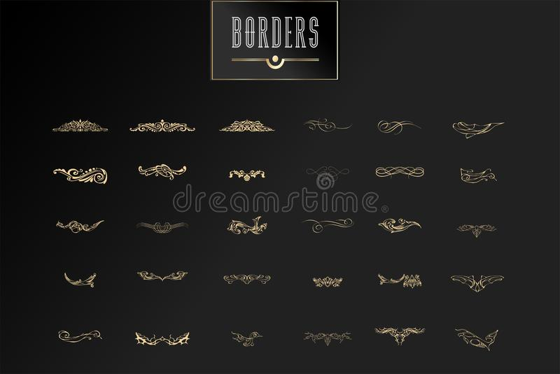 Ornamental borders and flourish corners, royal ornament swirls and vector vintage page dividers. Classical decoration royalty free illustration